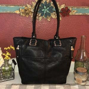 Tignanello Black Pebbled Leather Purse